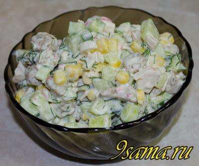 Рецепт салата с крабовыми палочками и кукурузой