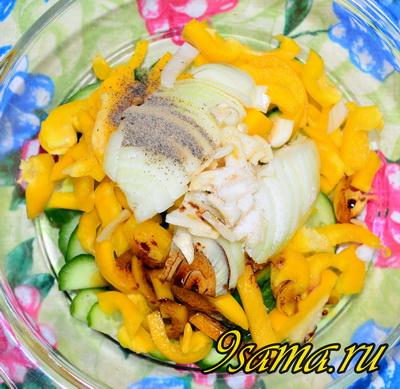 Салат с мясом и свежими овощами