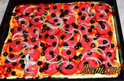 Пицца из слоеного теста за 20 минут