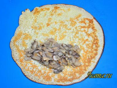 Простой рецепт блинов с грибами