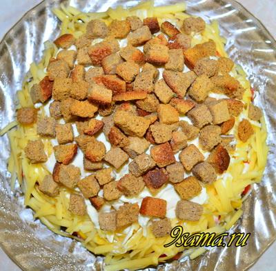 Рецепт слоеного салата Коррида