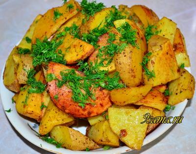 Острая картошка по-деревенски в духовке