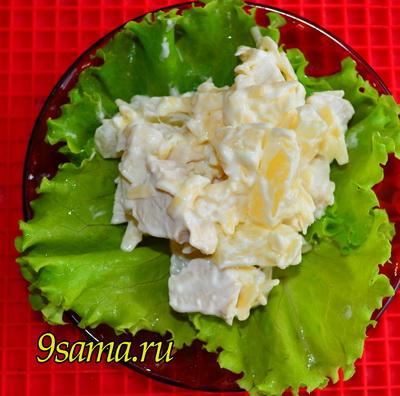 Салат Дамский с курицей и ананасами