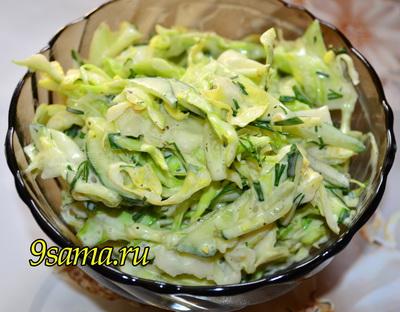 Салат «Весенний» из свежих огурцов и капусты