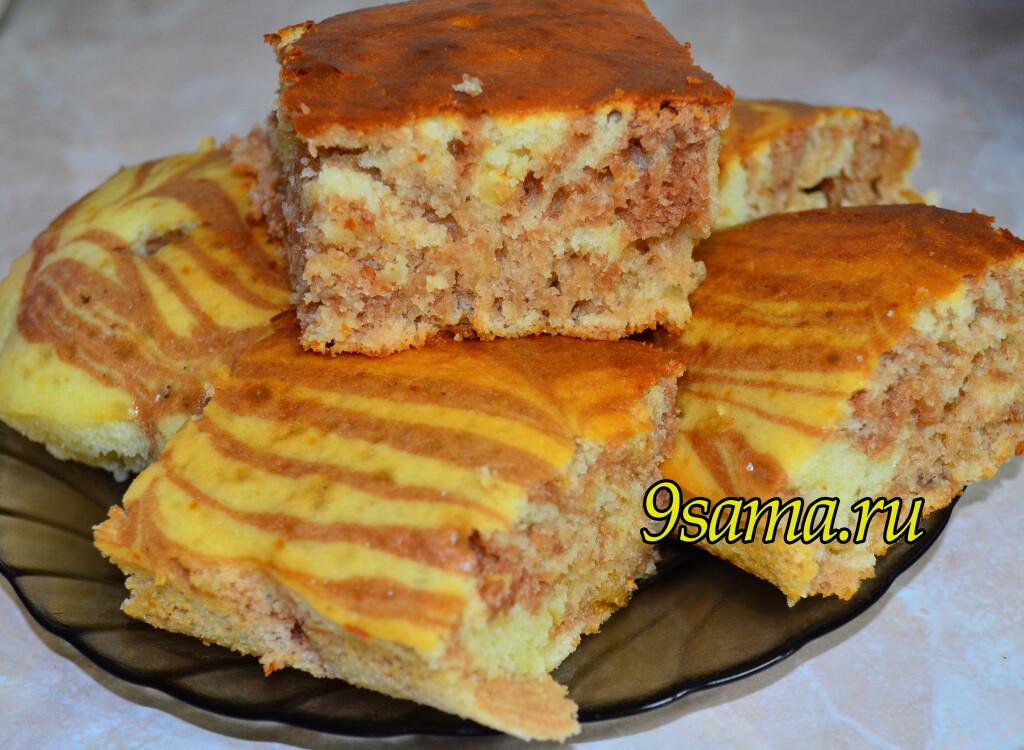 Рецепт пирога зебра на сметане в духовке